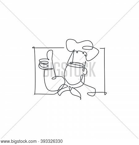Single Continuous Line Drawing Of Stylized Chef Man Character Mascot With Thumbs Up Finger Gesture L