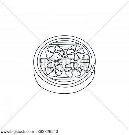 One Single Line Drawing Of Fresh Chinese Dumpling Logo Graphic Vector Illustration. Asian Mantou Foo