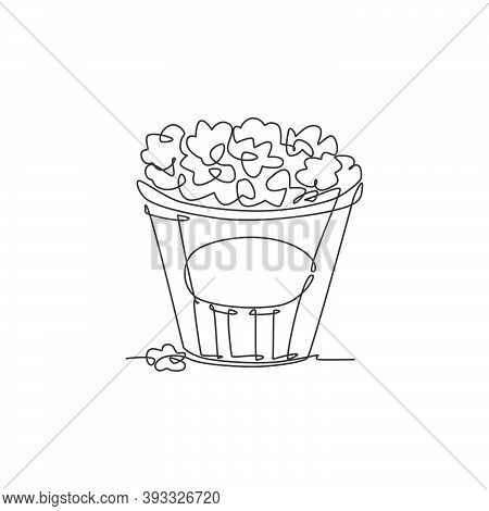 One Single Line Drawing Of Fresh Salty Pop Corn With Stripped Pattern Paper Bucket Vector Graphic Il