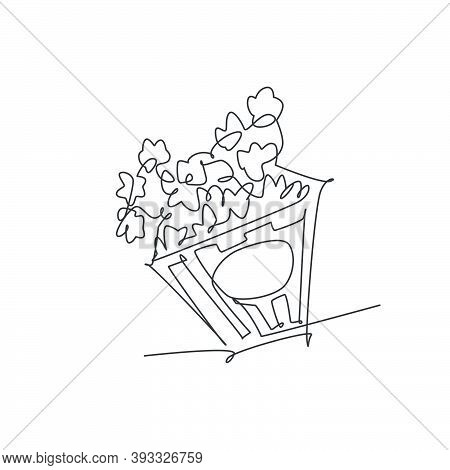 One Single Line Drawing Of Fresh Salty Pop Corn With Stripped Patter Paper Box Vector Graphic Illust