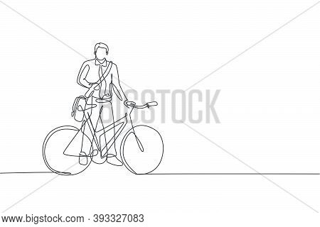 Single Continuous Line Drawing Young Professional Businessman Riding Bicycle To His Company. Bike To