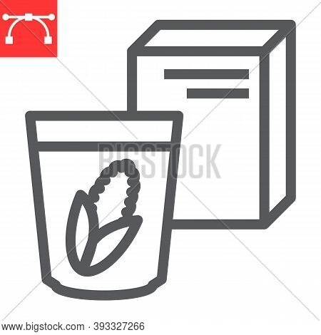 Breakfast Cereal Line Icon, Corn And Cereals, Cereal Box Sign Vector Graphics, Editable Stroke Linea