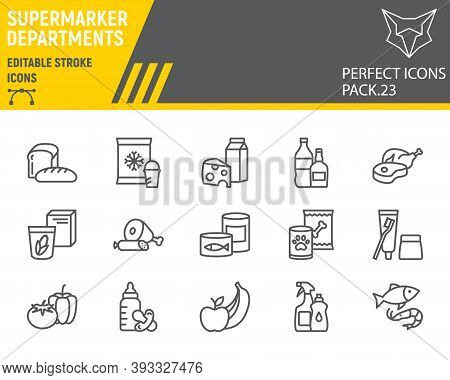 Supermarket Departments Line Icon Set, Grocery Collection, Vector Sketches, Logo Illustrations, Onli
