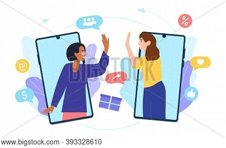 Customers Sharing References And Earning Money. Mobile Phones Users Chatting, Exchanging Gifts. Flat