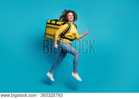 Profile Side Full Length Body Size View Of Nice Attractive Cheerful Glad Wavy-haired Girl Jumping Ca