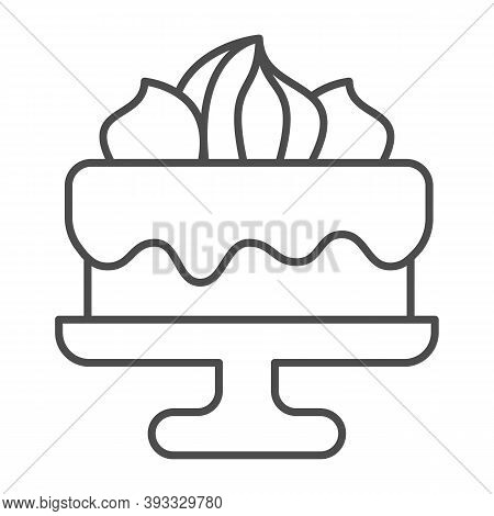 Cake With Chocolate Glaze And Marshmallows Thin Line Icon, Birthday Cupcake Concept, Biscuit Decorat