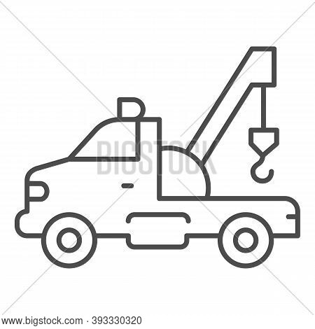 Tow Truck With Crane Thin Line Icon, Heavy Equipment Concept, Tow Car Sign On White Background, Car