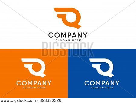 Q Letter Shipping Service Logo. Fast, Speed, Wings, Moving And Quick, Digital, And Technology. Trend