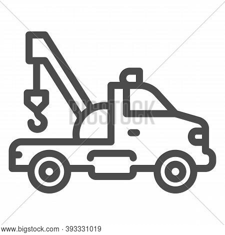 Tow Truck With Crane Line Icon, Heavy Equipment Concept, Tow Car Sign On White Background, Car Towin