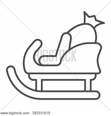 Sleigh With Bag Of Gifts Thin Line Icon, Christmas Concept, Santa Sleigh Sign On White Background, S