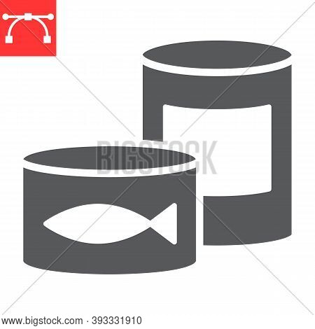 Canned Food Glyph Icon, Tin Can And Container, Canned Fish Sign Vector Graphics, Editable Stroke Sol