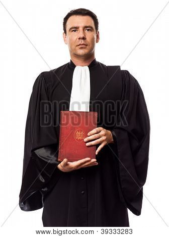 one caucasian lawyer man showing law book in studio isolated on white background poster