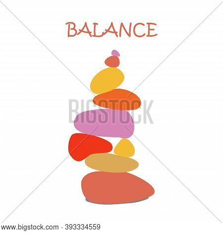 Stone Cairn, Color Pebbles. Zen Stone Balance, Peaceful Concept On White Background. Symbol Of Harmo