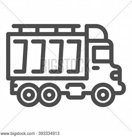 Truck Line Icon, Heavy Equipment Concept, Dump Vehicle Sign On White Background, Heavy Duty Dump Tru