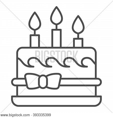 Birthday Cake With Bow And Candles Thin Line Icon, Birthday Cupcake Concept, Dessert With Three Cand