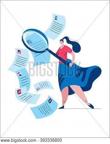Hr Manager Uses A Magnifying Glass To View Various Resumes. Vector Illustration In Flat Style.