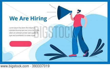 A Man In A Modern Style Shouts Into A Megaphone. Template For A Horizontal Banner In A Flat Style Ab
