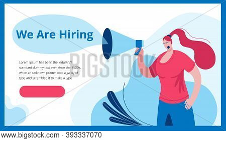 A Woman In A Modern Style Shouts Into A Megaphone. Template For A Horizontal Banner In A Flat Style