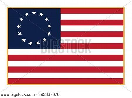 Betsy Ross Flag 13 Stars Isolated Vector Illustration