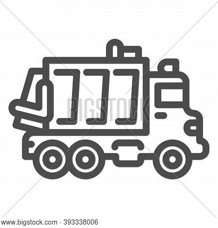 Garbage Truck Line Icon, Heavy Equipment Concept, Garbage Machinery Sign On White Background, Recycl