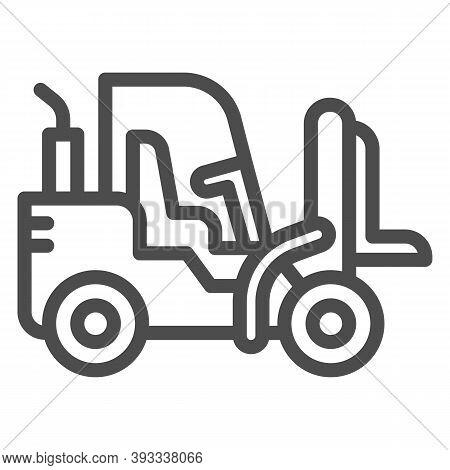 Loader Line Icon, Heavy Equipment Concept, Fork Lift Sign On White Background, Forklift Loader Icon