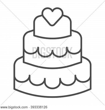Three Tiered Cake Thin Line Icon, Birthday Cupcake Concept, Sweet Dessert Sign On White Background,