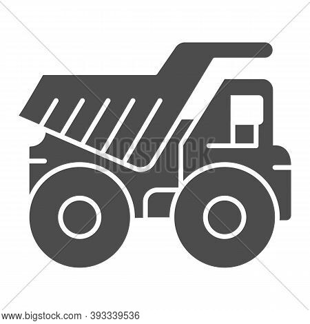 Large Mining Dump Truck Solid Icon, Heavy Equipment Concept, Big Heavy Car Sign On White Background,