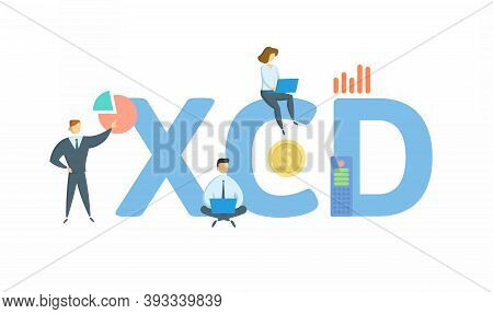 Xcd, Eastern Caribbean Dollar. Concept With Keyword, People And Icons. Flat Vector Illustration. Iso