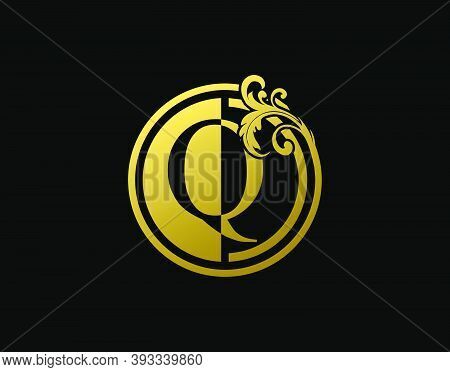 Luxury Circle Q Letter Floral Logo. Vintage Gold Q Swirl Logo Icon.
