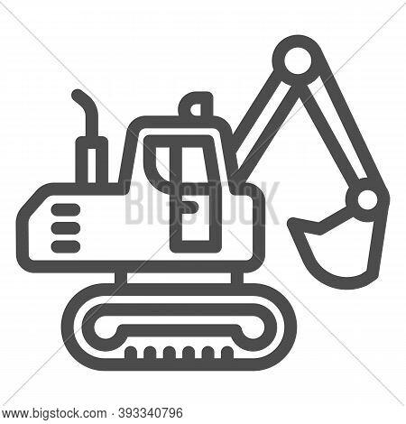 Crawler Excavator Line Icon, Heavy Equipment Concept, Hydraulic Excavator Truck Sign On White Backgr