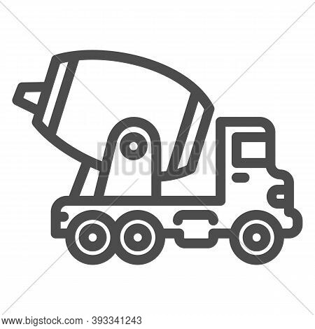 Concrete Mixing Truck Line Icon, Heavy Equipment Concept, Construction Machine Sign On White Backgro