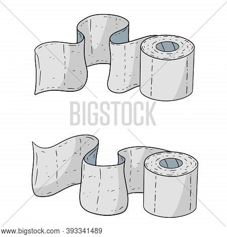 Set Of Toilet Paper. Bath Element. White Cartoon Object. Several Rolls Of Paper Towels On White Back