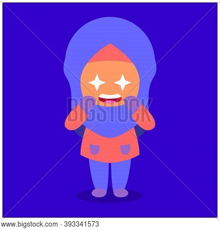 Muslim Girl Cartoon Shining, Awe, Excited. Daily Fun Activities. Funny Character Vector Illustration