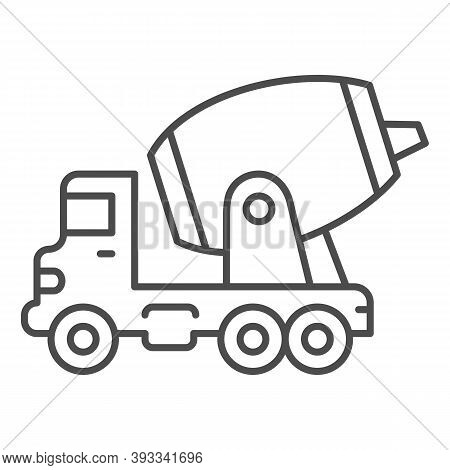 Concrete Mixing Truck Thin Line Icon, Heavy Equipment Concept, Construction Machine Sign On White Ba