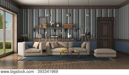 Classic Style Living Room With Modern Sofa And Armchair. Old Door And Chest Of Drawer On Background