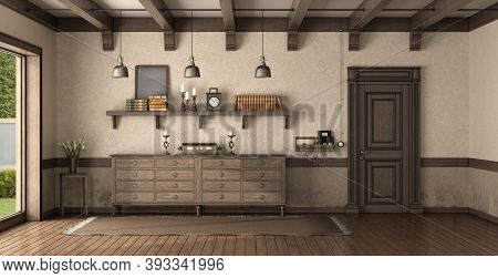 Retro Home Entrance With Wooden Front Door And Chest Of Drawer - 3d Rendering