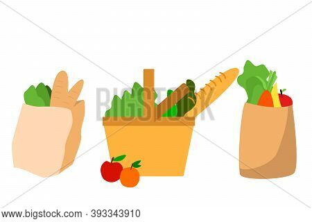 Shopping Bags  Flat Vector Illustrations Set. Eco Shopping Bags And Baskets With Food. Vector Superm