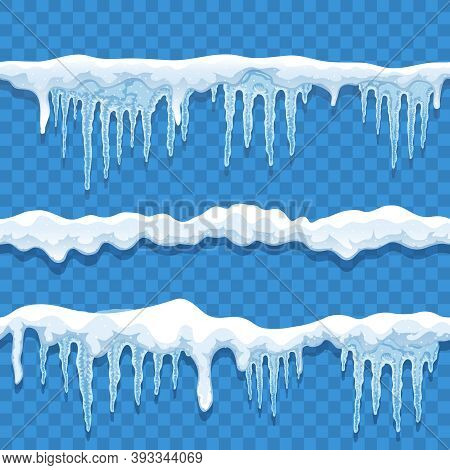 Snow Ice Cap Seamless Border Set On Transparent Background With Lines Of Snow And Hanging Icicles Ve