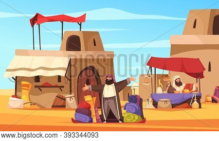 Outdoor Oriental Bazaar With Hookahs Pottery Handmade Eastern  At Arab Town Background Cartoon Vecto