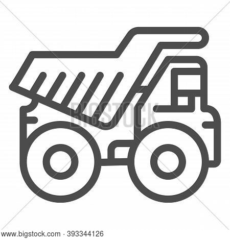 Large Mining Dump Truck Line Icon, Heavy Equipment Concept, Big Heavy Car Sign On White Background,