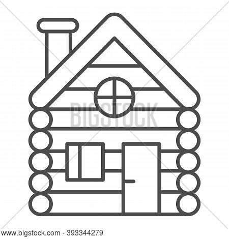 Old Wooden House Thin Line Icon, Christmas Concept, Timbered And Wood Home Sign On White Background,