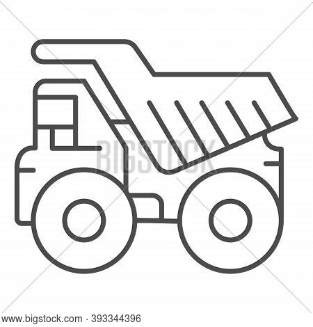 Large Mining Dump Truck Thin Line Icon, Heavy Equipment Concept, Big Heavy Car Sign On White Backgro