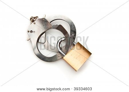 Manacle with lock against white background