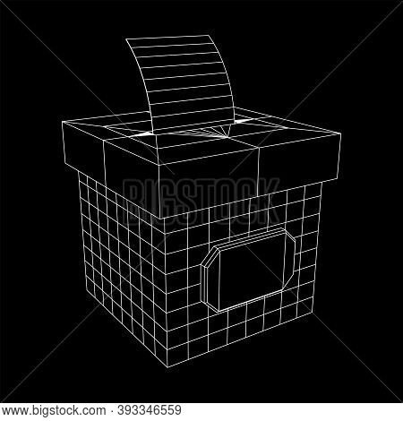 Ballot Box With Ballot Paper. Wireframe Low Poly Mesh Vector Illustration.