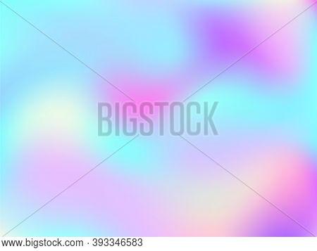 Hologram Effect Glitch Gradient Vector Design. Lucent Iridescent Mermaid Background. Liquid Colors N
