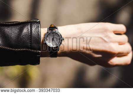 Fashionable Watch On A Womans Hand. Woman Watch Time On Wrist Watch