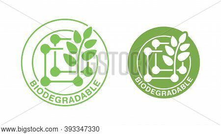 Biodegradable Polymers Flat Icon - Green Emblem With Plastic Polymer Molecular Structure And Plant L