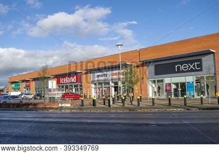 Grantham, England. October 31, 2020.  Augustin Retail Park With Next, Home Bargains, Sports Direct,