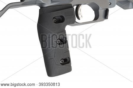 Adjustable Trigger Grip And Trigger On A Rifle Isolated On White