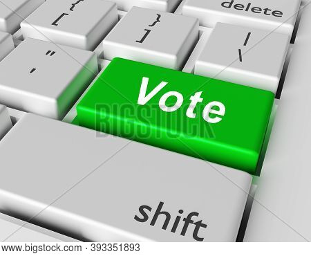 Vote Concept. Word Vote On Button Of Computer Keyboard. 3d Rendering